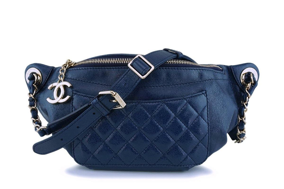 "Chanel Blue Glazed Calfskin ""Pocket"" Banane Fanny Pack Belt Waist Bag GHW"
