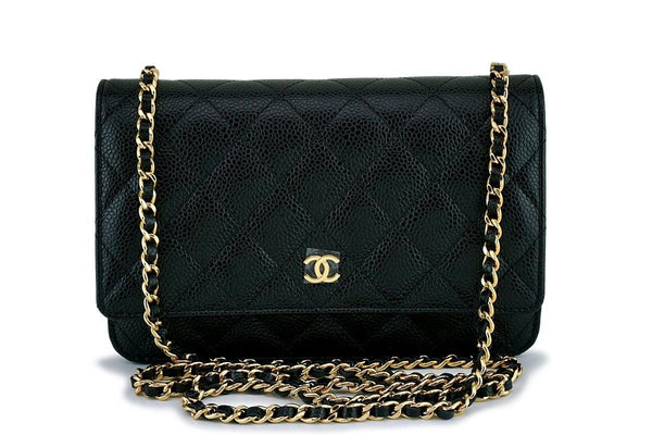 New Chanel Black Caviar Classic Wallet on Chain WOC Flap Bag GHW