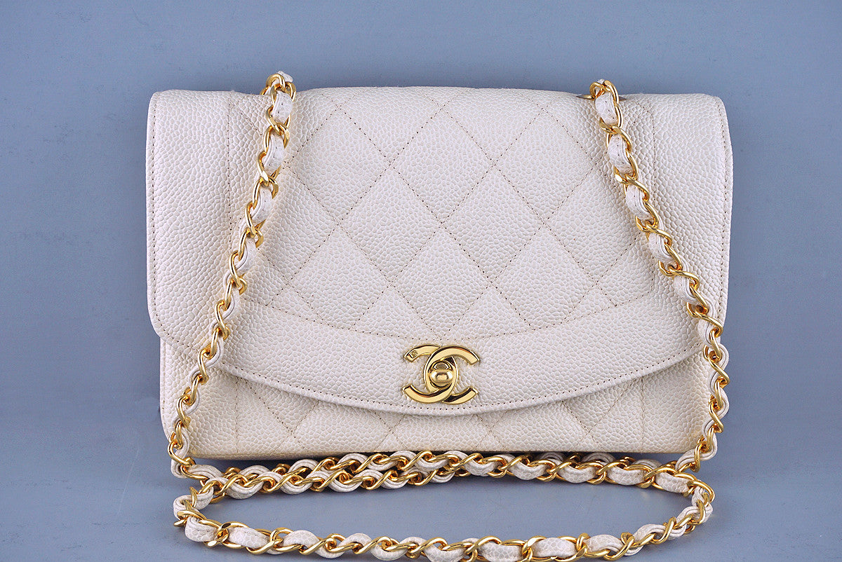 "Chanel Caviar Vintage Quilted Classic ""Diana"" Flap, Light Beige  Bag"