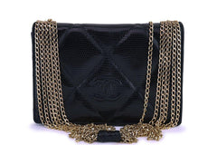 Rare Chanel Vintage Black Lizard Evening Flap Bag 24k GHW