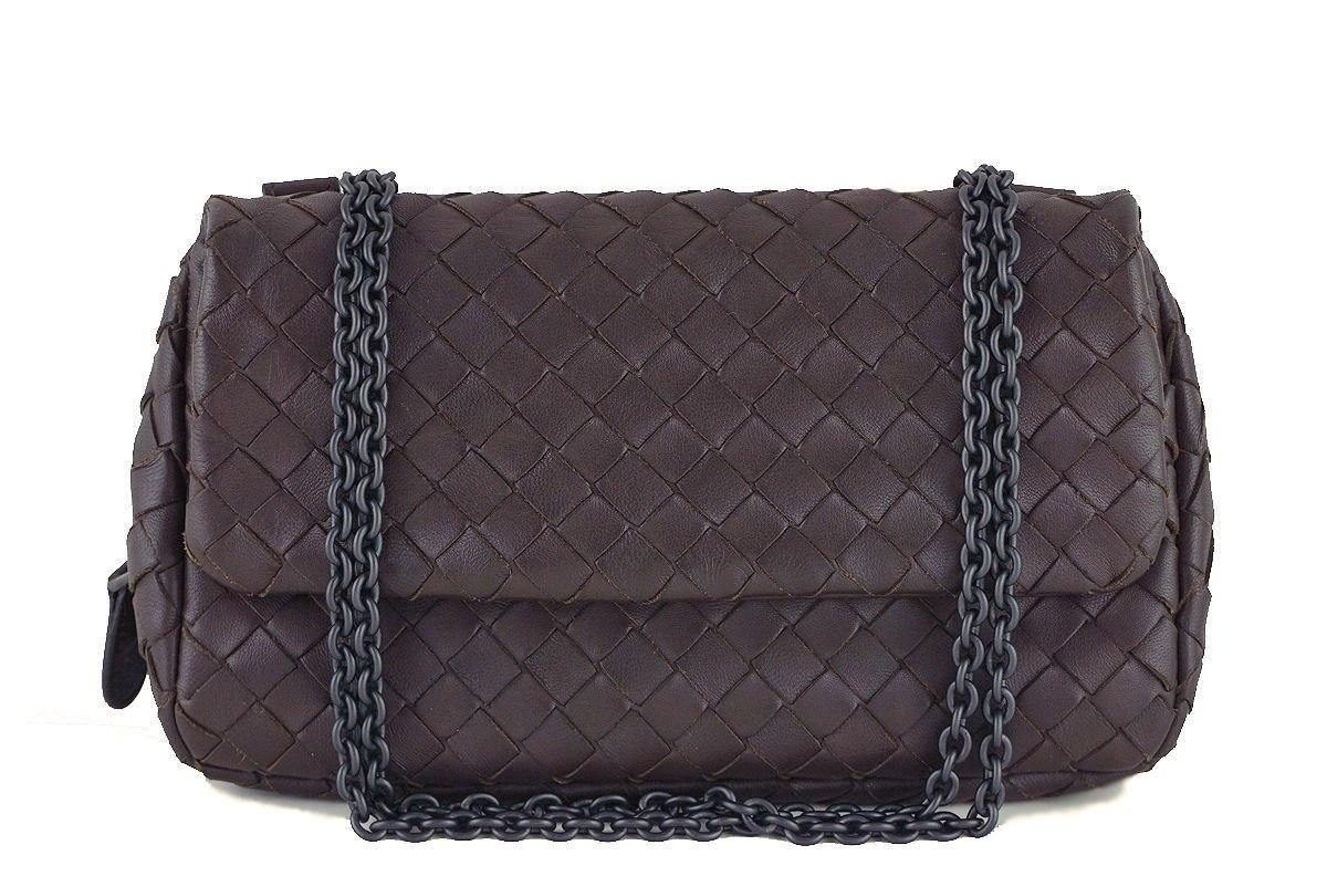 Bottega Veneta Ebano Brown Messenger Bag Woven Lambskin Cross Body