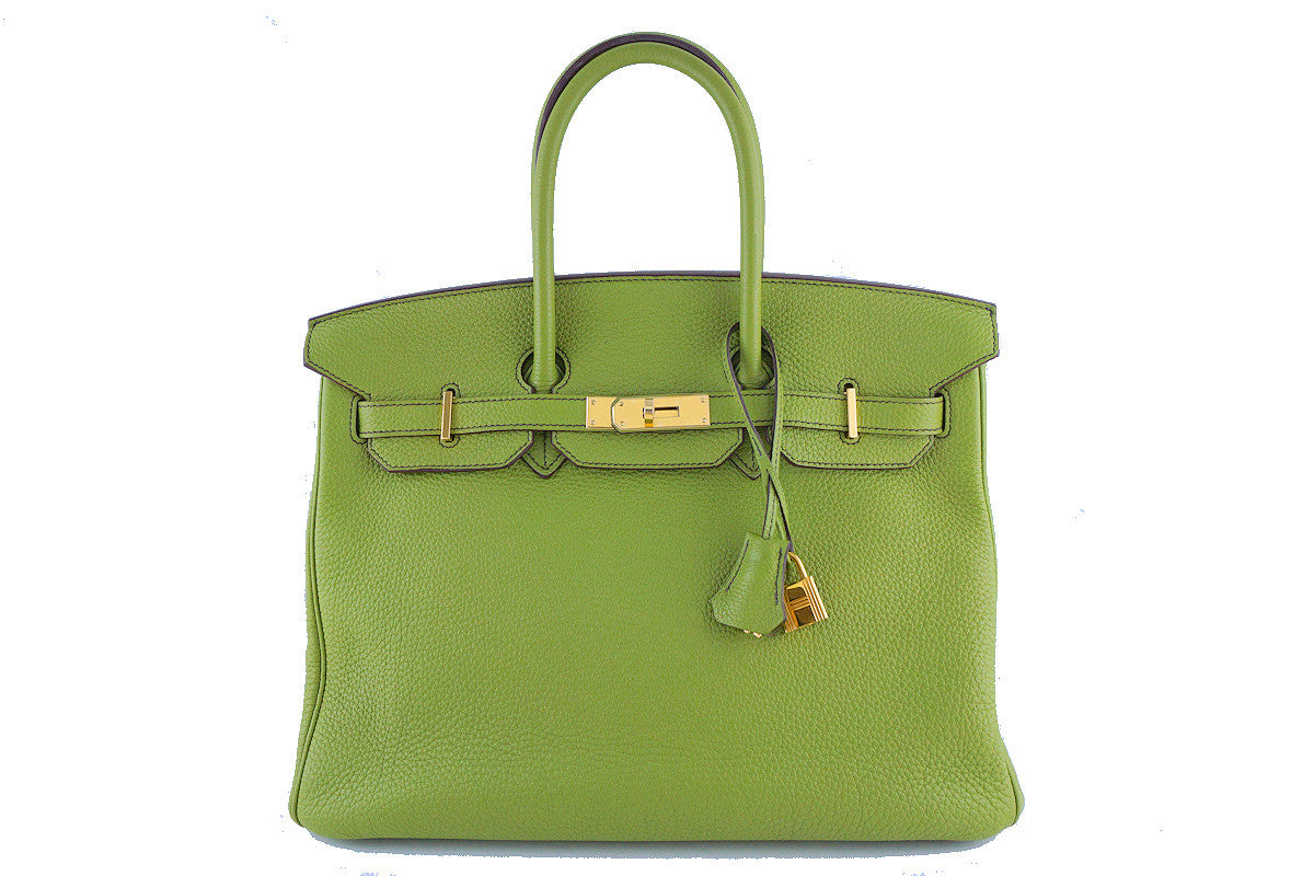 Hermes Birkin Bag, 35cm Vert Anis Apple Green Togo Tote, GOLD HW