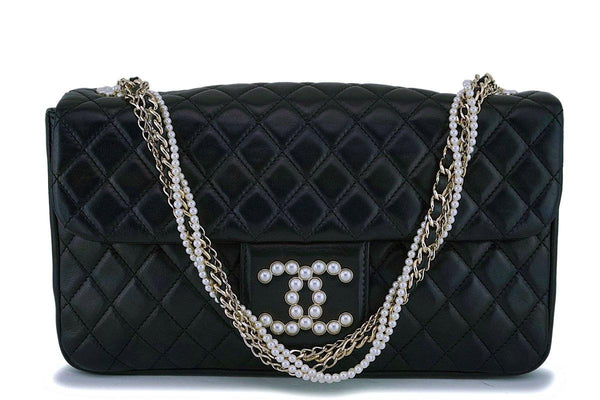 Chanel Black Lambskin Westminster Pearls Classic Flap Bag GHW