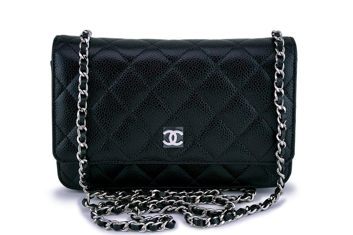 NWT Chanel Black Caviar Classic Quilted WOC Wallet on Chain Flap Bag SHW