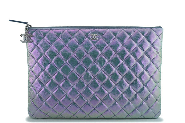 NIB 19S Chanel Blue-Violet Iridescent Large O Case CC Clutch Bag SHW