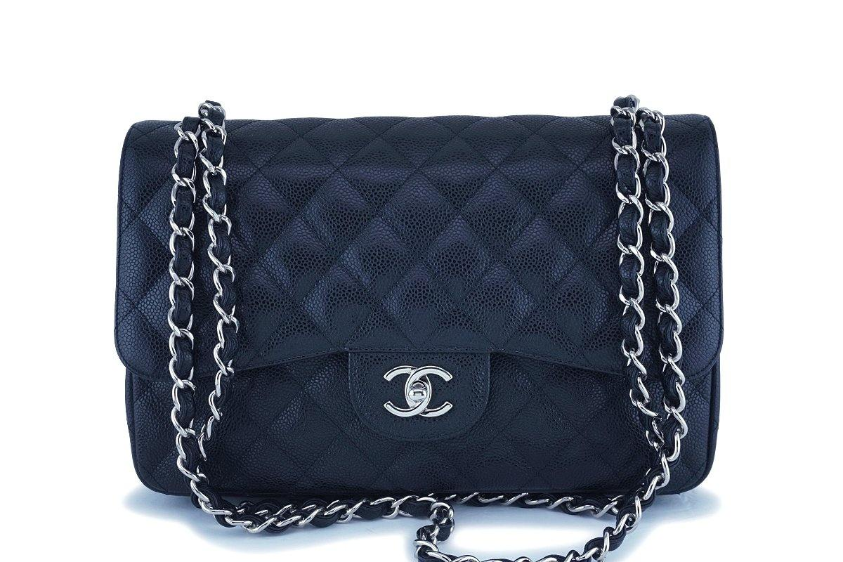 Chanel Black Caviar Jumbo Classic Double Flap Bag SHW
