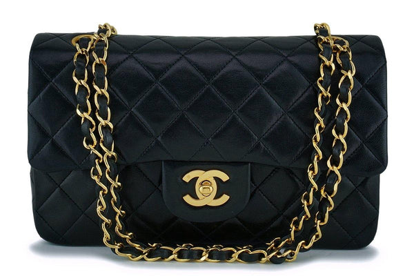 Chanel Black Lambskin Small Classic Double Flap Bag 24k GHW