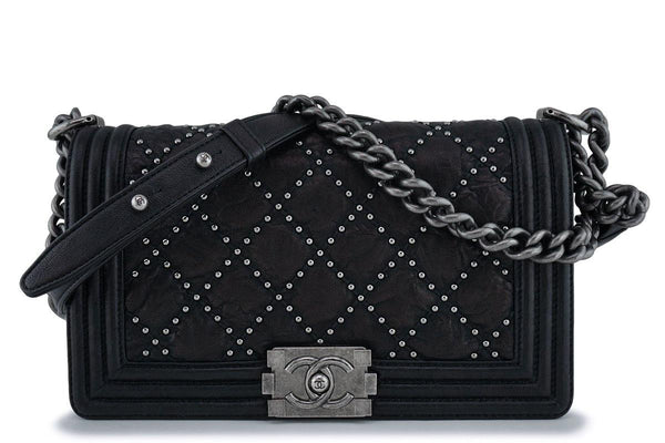 Chanel Black Crumpled Calf Studded Medium Classic Boy Flap Bag RHW