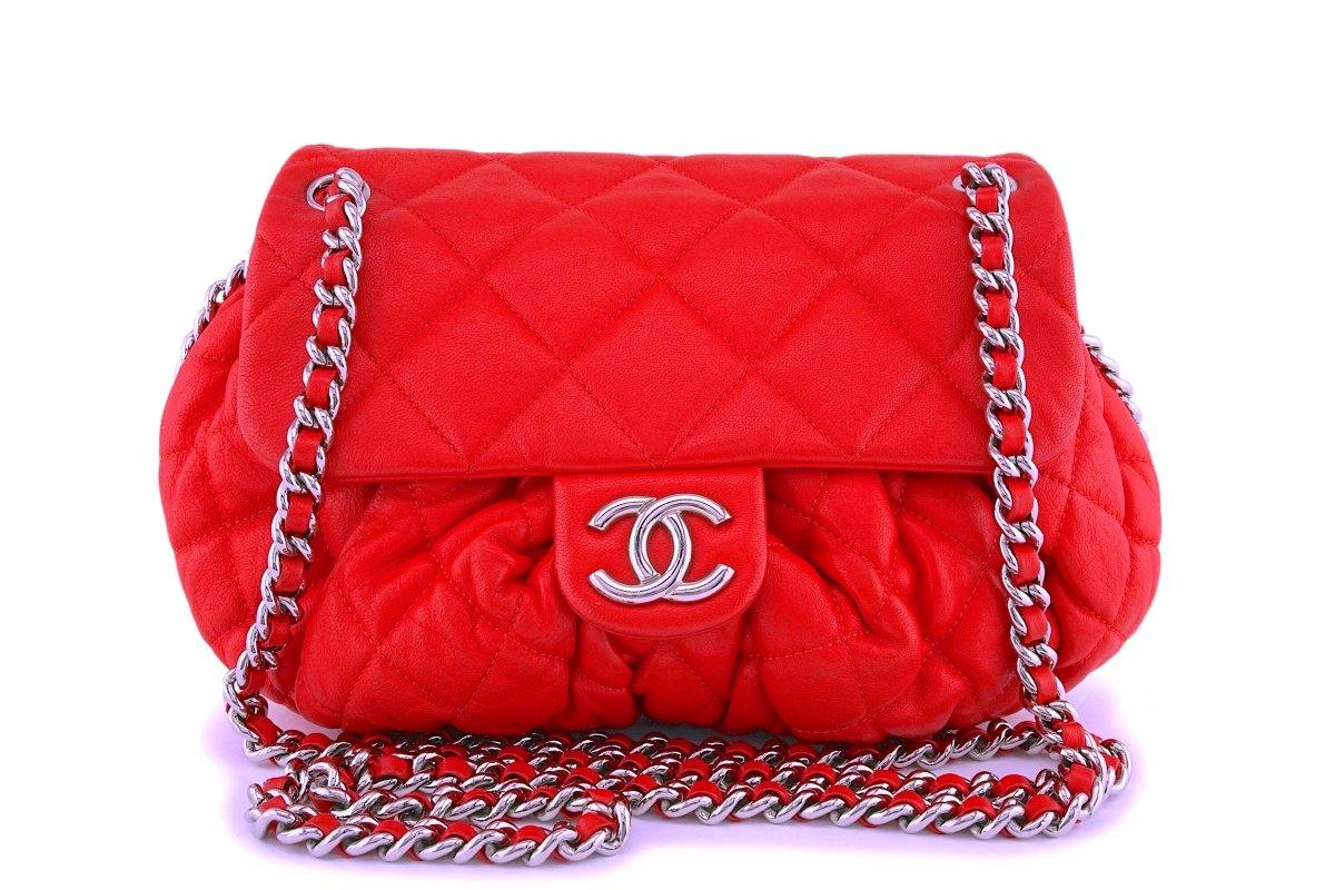 Chanel Red Textured Medium Chain Around Crossbody Flap Bag SHW - Boutique Patina