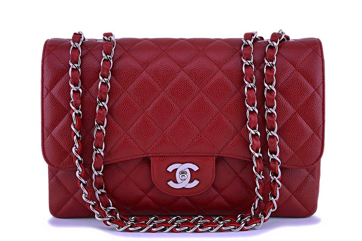 09C Chanel Dark Red Caviar Classic Jumbo Flap Bag SHW