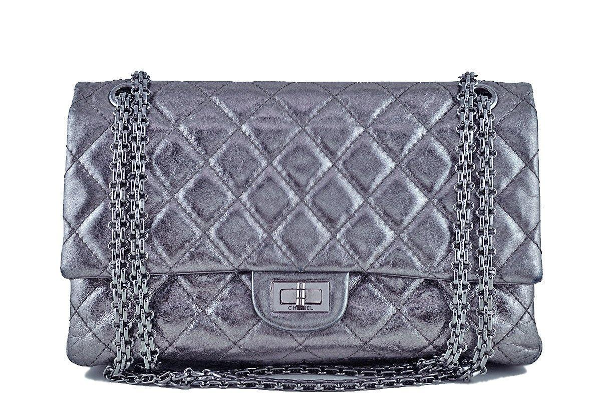 Chanel Dark Silver Distressed Calf 226 Classic Reissue 2.55 Flap Bag - Boutique Patina  - 1