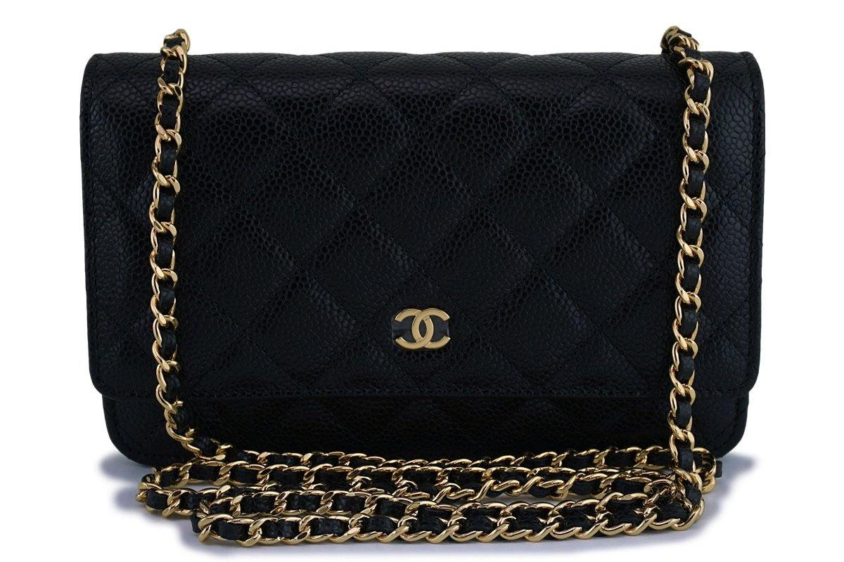 New Chanel Black Caviar Classic Quilted WOC Wallet on Chain Flap Bag GHW
