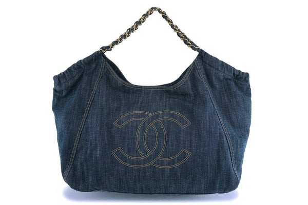 Chanel XL Denim Coco Cabas Canvas Tote Bag