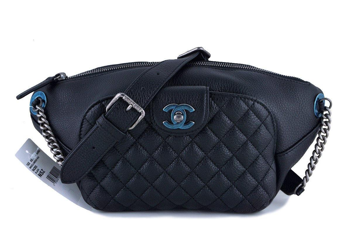 NWT 16S Chanel Black Calfskin Quilted Classic Fanny Pack Bag