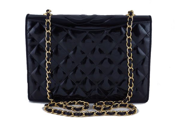 Chanel Black Patent Quilted Vintage Timeless Logo Classic Flap Bag