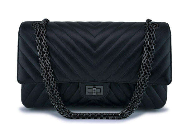 Chanel So Black Chevron Classic Reissue 226 Medium 2.55 Double Flap Bag