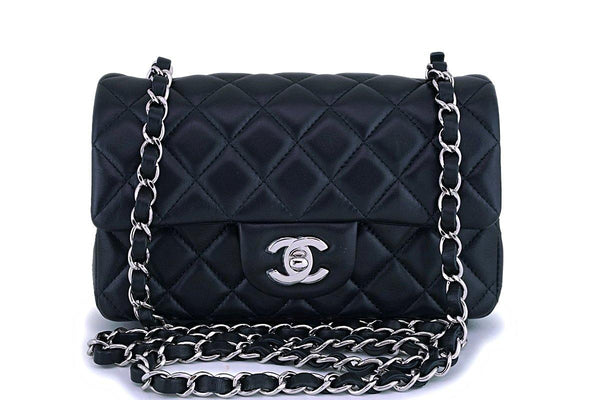 Chanel Black Lambskin Rectangular Mini Classic Flap Bag SHW