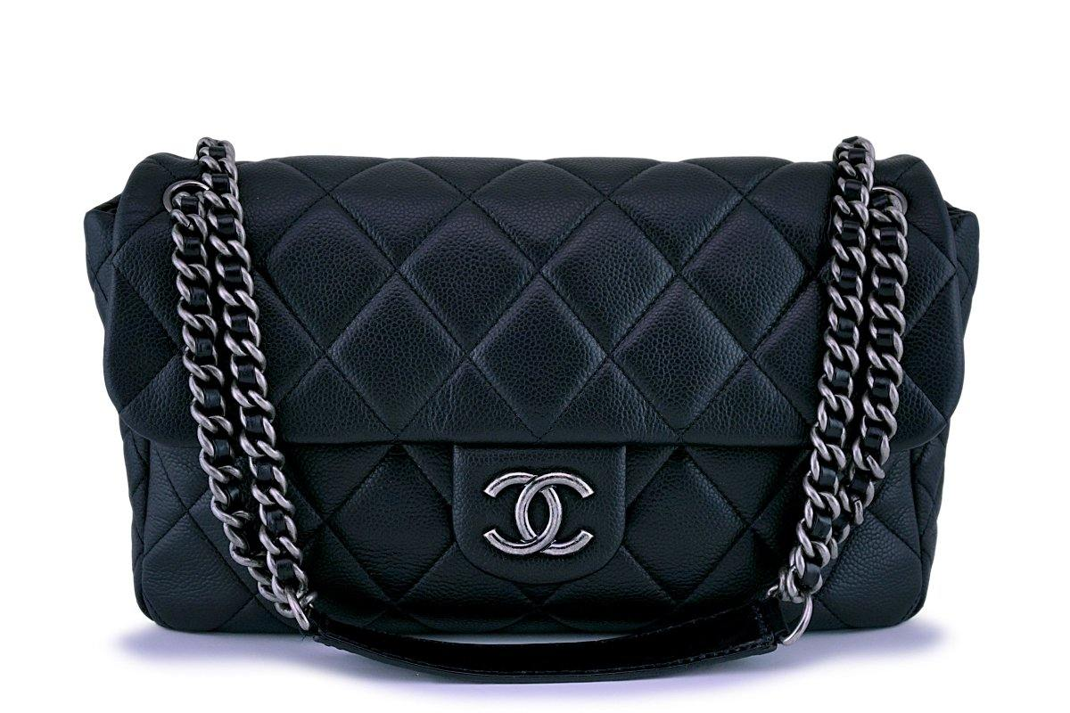 Chanel Black Caviar Jumbo-sized Quilted Flap Bag RHW