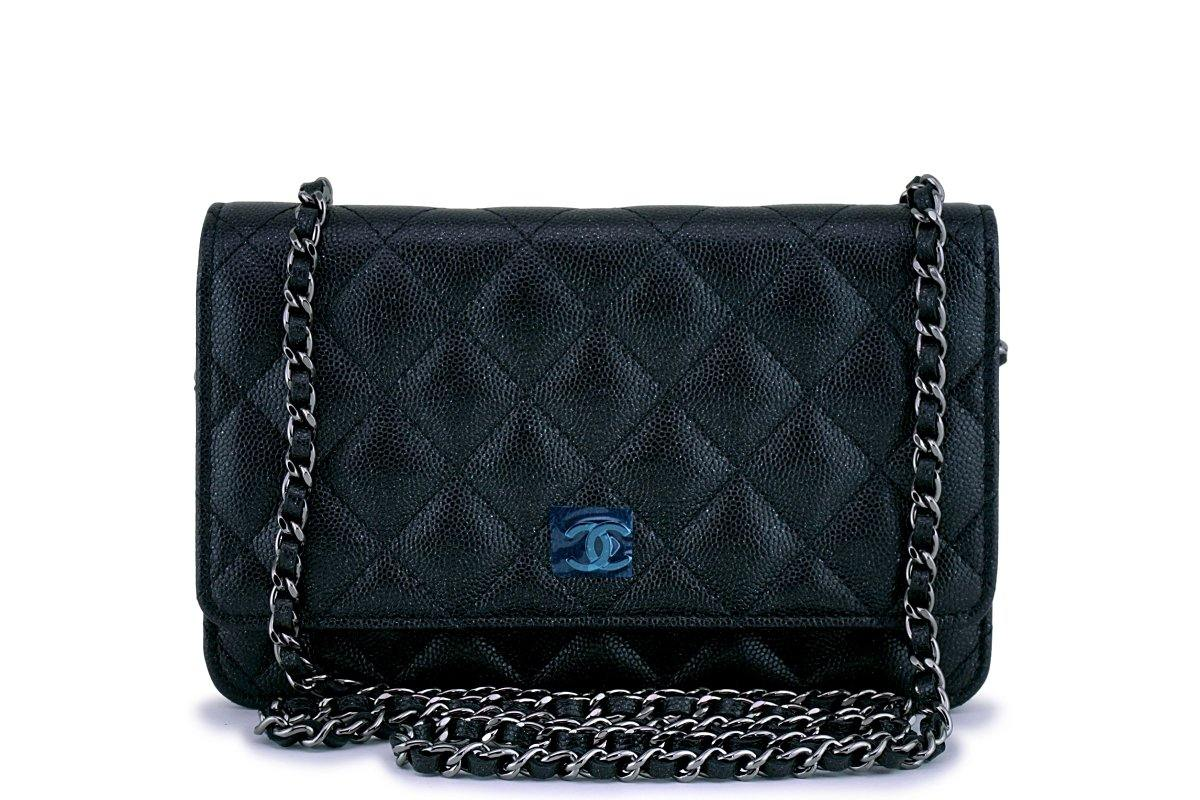 New 18C Chanel Iridescent Black Caviar Quilted WOC Wallet on Chain Flap Bag