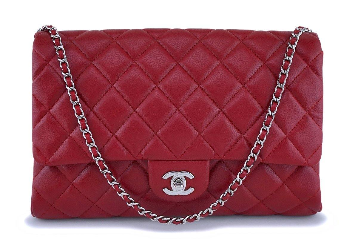 Chanel Red Caviar Classic Timeless Clutch Flap w Chain Bag SHW