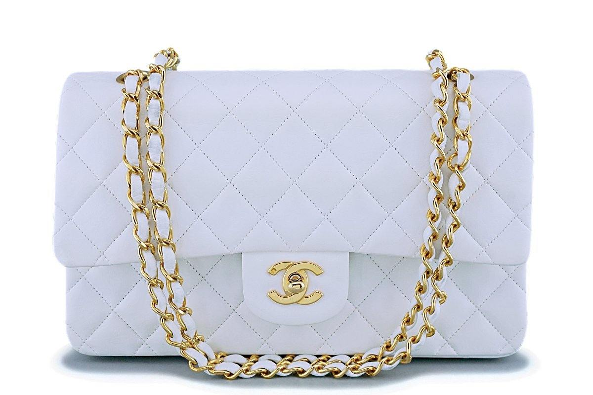 89a803fbe508 Chanel White Lambskin Medium Classic Double Flap Bag 24k GHW