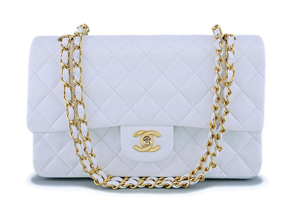 Chanel White Lambskin Medium Classic Double Flap Bag 24k GHW