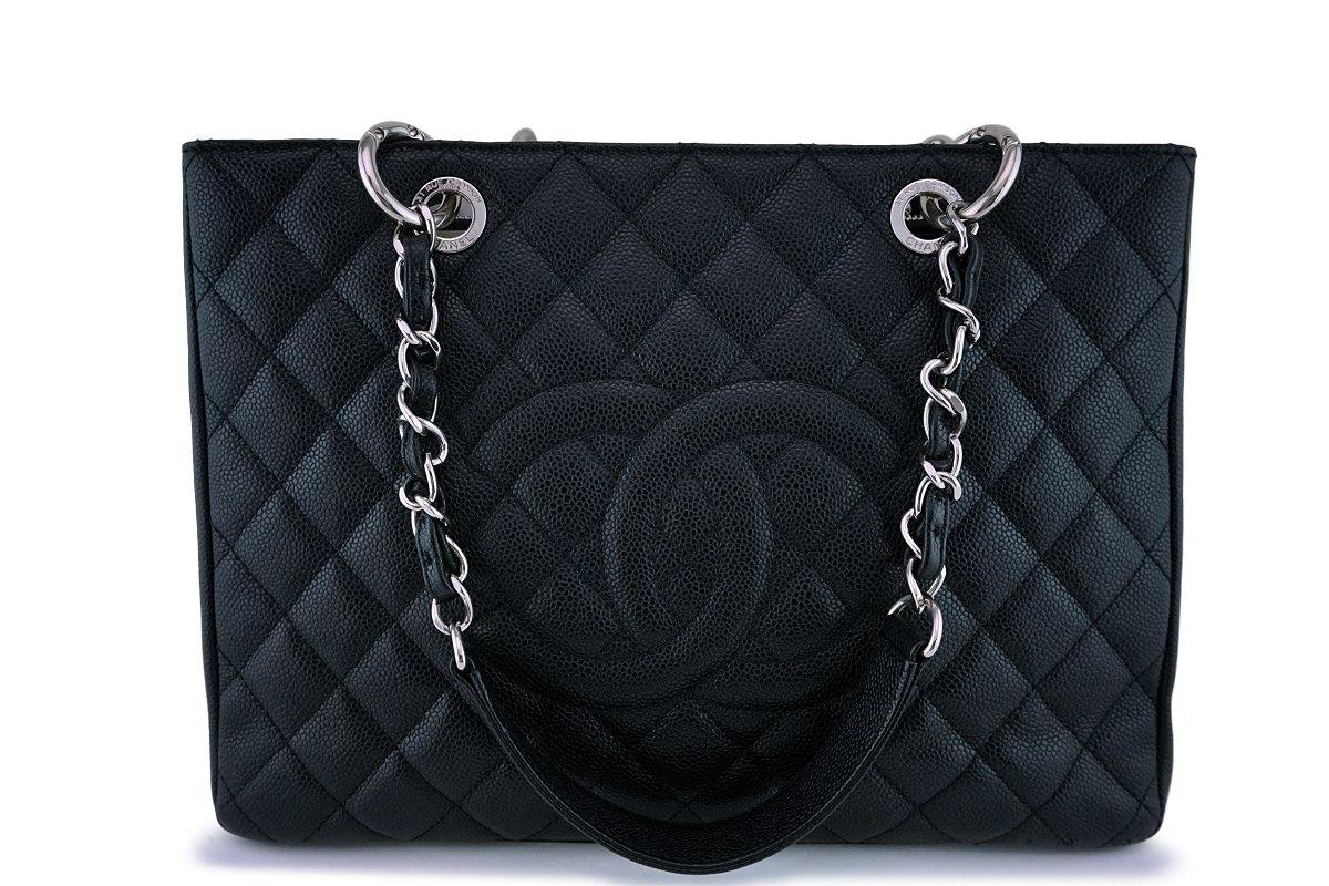 Chanel Black Caviar Grand Shopper Tote GST Bag SHW
