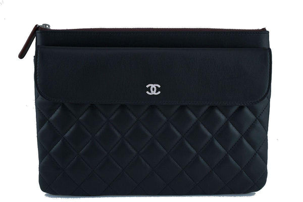 NWT 17S Chanel Black Classic Quilted O Case Flap Clutch Purse Bag
