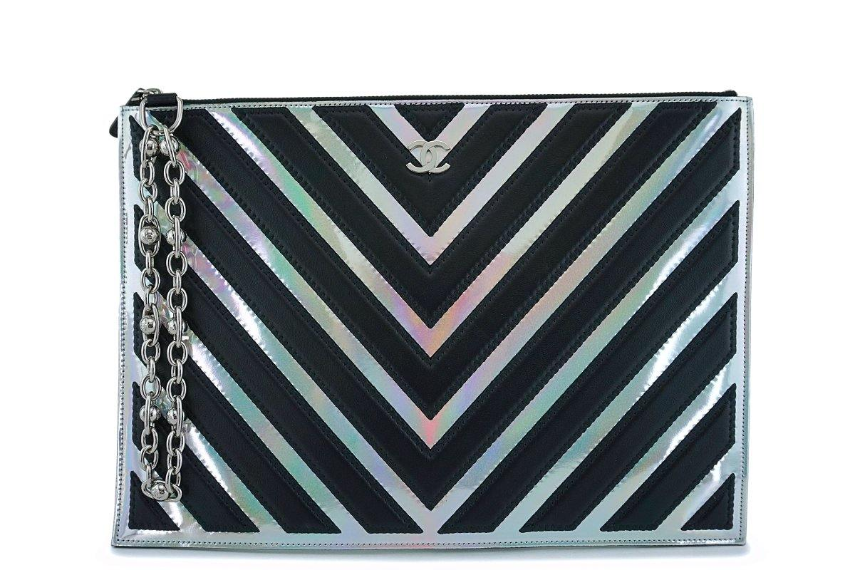 Chanel Medium-Large Iridescent Black Silver O Case Clutch Pouch Bag - Boutique Patina