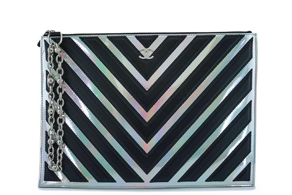 Chanel Medium-Large Iridescent Black Silver O Case Clutch Pouch Bag