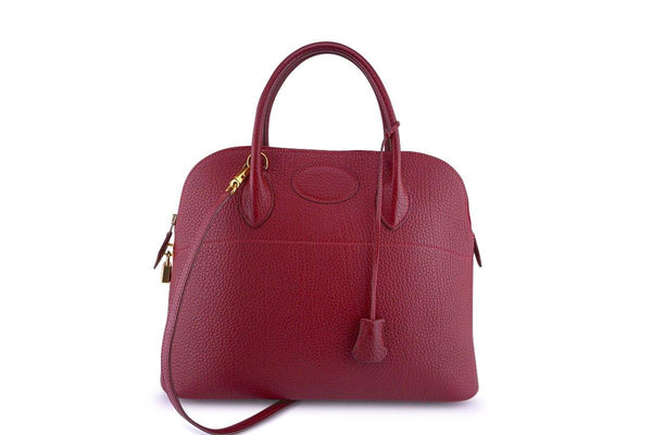 Hermes Rouge H Fjord Red 35/37cm Bolide Shoulder Tote Bag