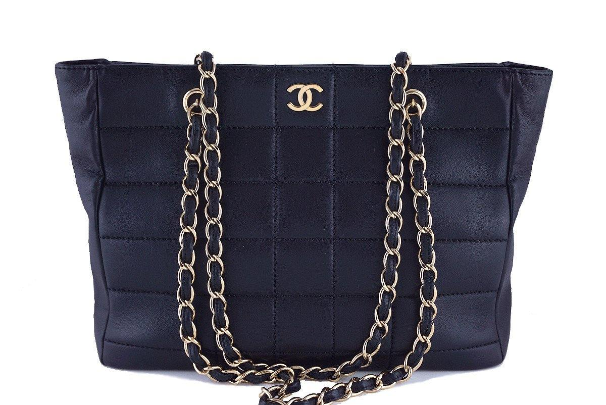 Chanel Black Classic Quilted Shopper Tote with Gold Chain Bag