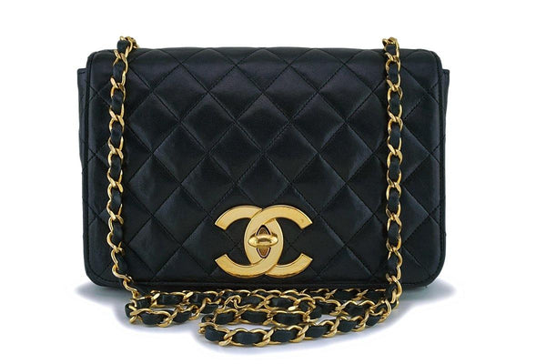 Chanel Vintage Black Lambskin Big CC Small Classic Flap Bag 24k GHW
