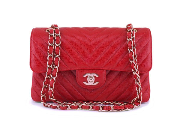 New 20B Chanel Red Caviar Chevron Small Classic Double Flap Bag GHW