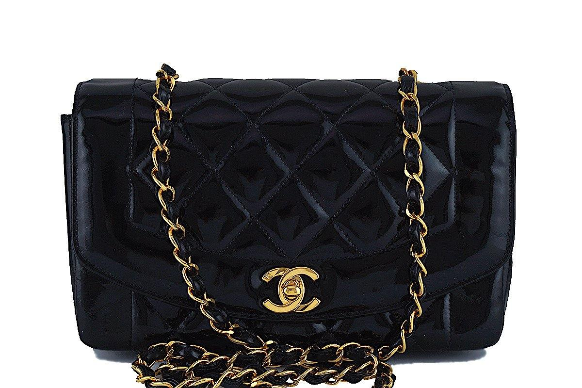 "Chanel Black Vintage Quilted Patent Classic ""Diana"" Flap Bag - Boutique Patina  - 1"
