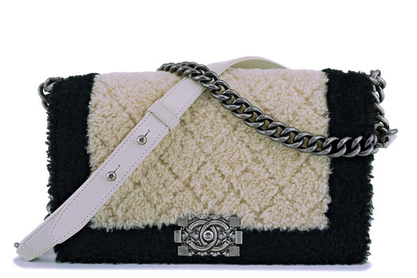 15A Chanel Medium Black/Cream Shearling Classic Boy Flap Bag RHW