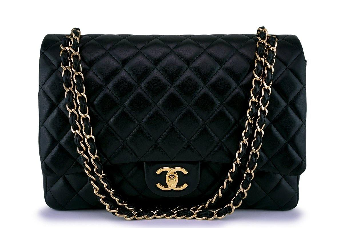 Chanel Black Lambskin Classic Maxi Double Flap Bag GHW