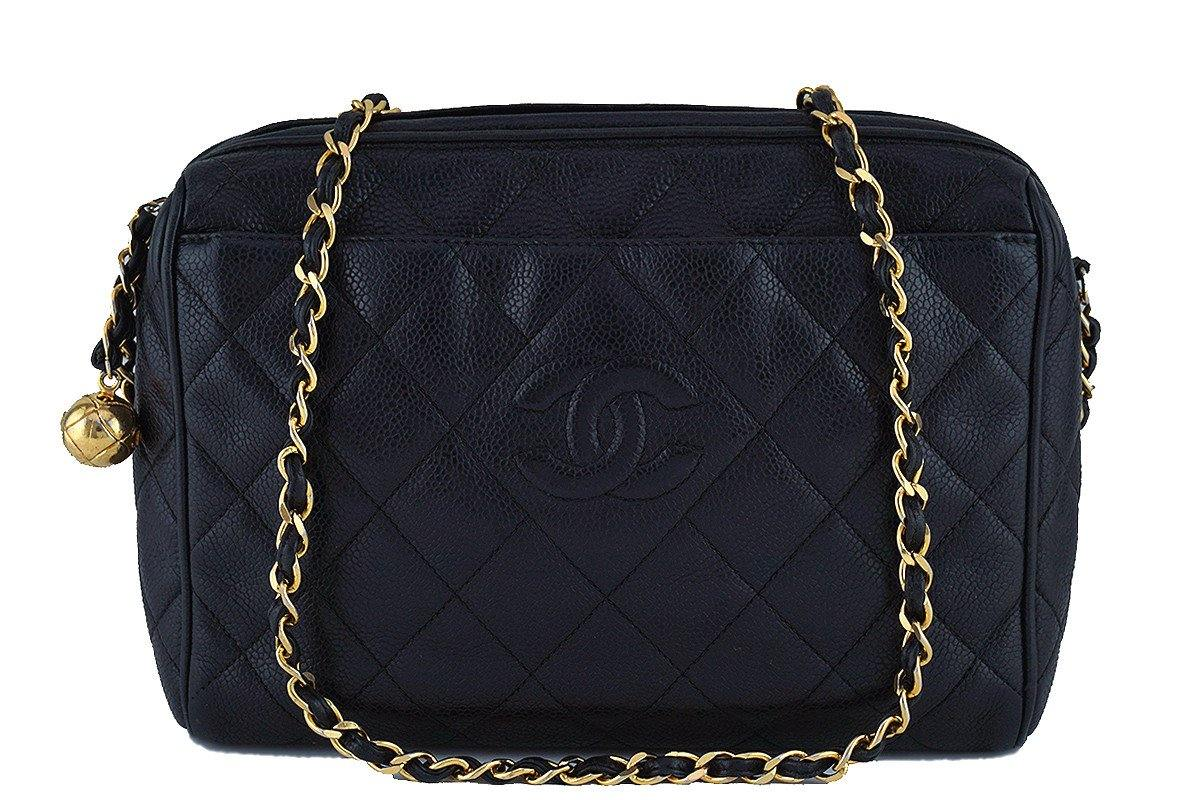 Chanel Black Caviar Classic Quilted Camera Case w Pocket Bag