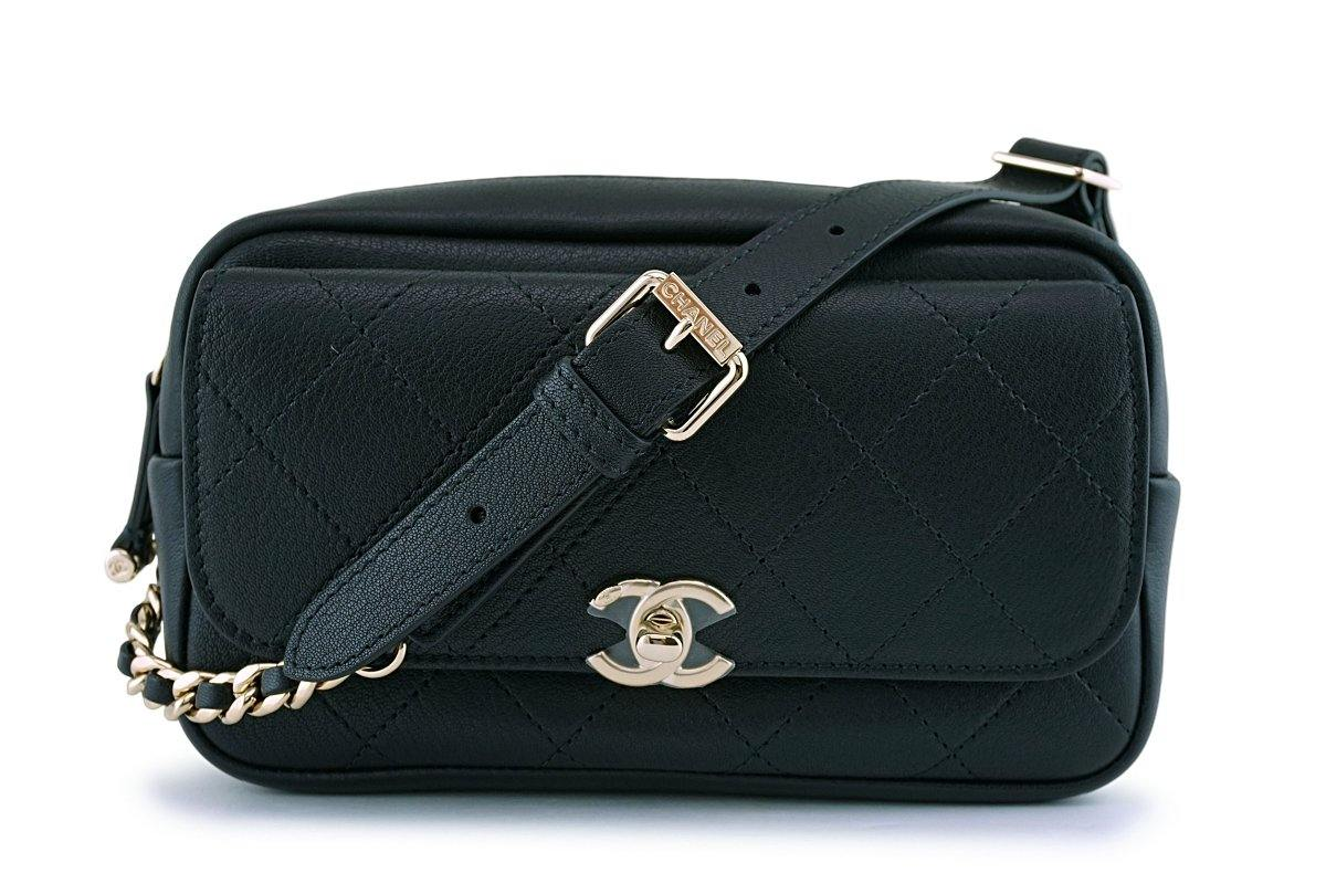 NIB 19C Chanel Black Flap-Camera Waist Belt Bag Fanny Pack GHW 63219