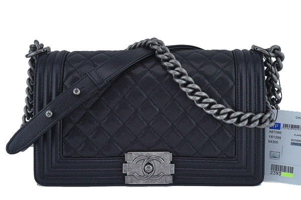 NWT 17P Chanel Black Le Boy Classic Flap, Medium Caviar Bag, RHW