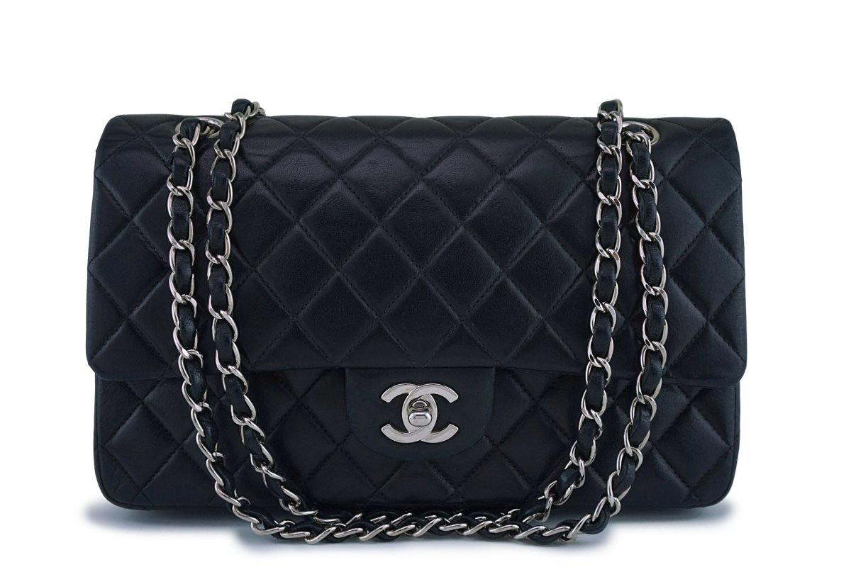 Chanel Black Lambskin Medium Classic 2.55 Double Flap Bag SHW