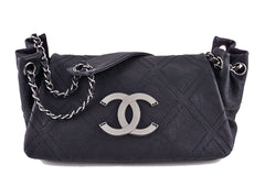 Chanel Black Diamond Stitch Jumbo Accordion Classic Flap Bag - Boutique Patina  - 1