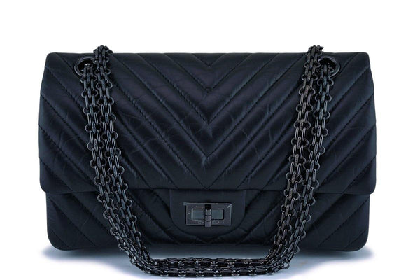NIB 18K Chanel So Black Chevron Reissue 225 2.55 Classic Double Flap Bag