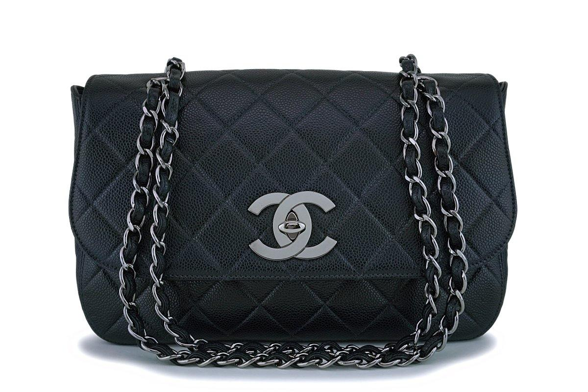 Rare Chanel Vintage Black Caviar Flap with Classic Jumbo CCs Bag RHW