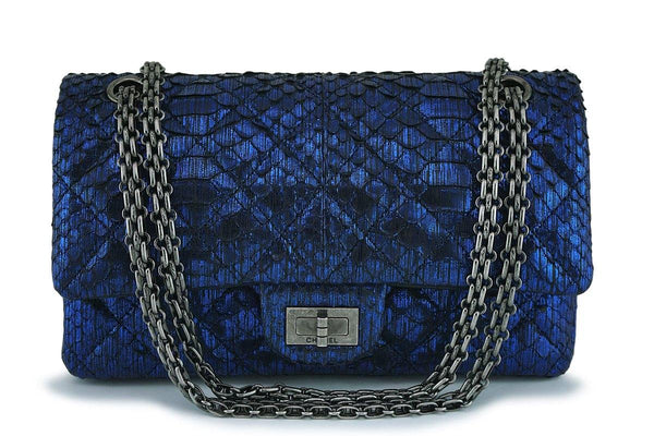 Chanel Limited Ed Blue Python 225 Small/Medium Reissue 2.55 Classic Flap Bag RHW