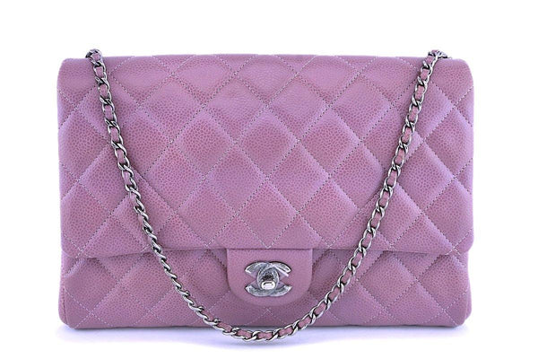 Chanel Mauve Pink-Violet Caviar Classic Timeless Clutch Flap w Chain Bag RHW