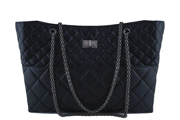Chanel Classic Black Quilted Large Quilted Reissue Tote Bag