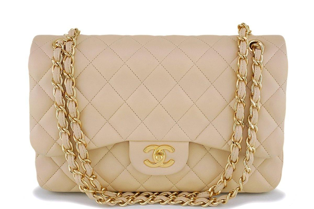 Chanel Beige Clair Lambskin Jumbo Classic Double Flap Bag GHW