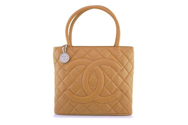 Chanel Vintage Beige Caviar Classic Medallion Tote Bag SHW