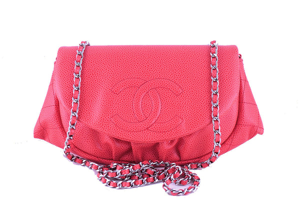 Chanel Coral Pink Caviar Half Moon WOC Wallet on Chain Purse Bag